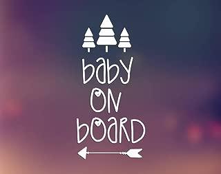 CCI Baby on Board Arrow Trees Decal Vinyl Sticker|Cars Trucks Vans Walls Laptop| White |6.5 x 3 in|CCI1363