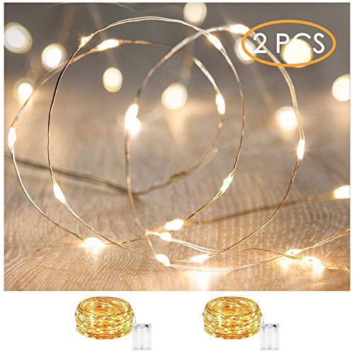 XINKAITE Led String Lights Waterproof 9.8ft led Fairy Lights Battery Operated for Wedding, Home, Garden, Party, Christmas Decoration, Warm White (2pcs)