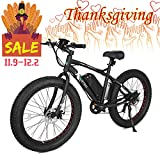 ECOTRIC Fat Tire Electric Bike Beach Snow Bicycle 26' 4.0 inch Tire Black Aluminum Ebike Powerful 500W Motor Electric Mountain Bicycle 36V/12AH Lithium Battery… (Black)