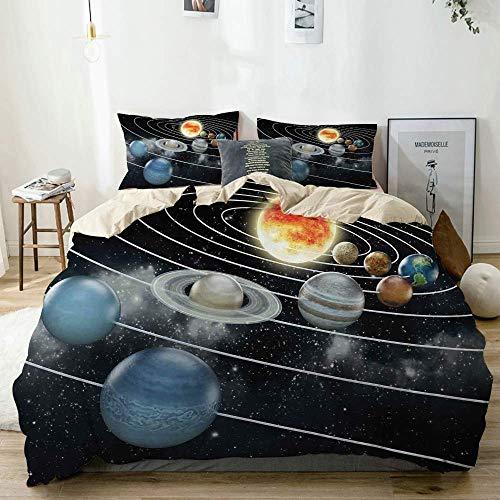 Juego de funda nórdica beige, sistema solar Los ocho planetas y el sol Plutón Júpiter Marte Venus Ciencia ficción, juego de cama decorativo de 3 piezas con 2 fundas de almohada Easy Care Anti-Alérgico