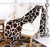 Home Must Haves Ultra Soft Micro Plush Flannel Blanket Luxurious Flannel Fur All Season Premium Bed Blanket (Queen 80'x80', Giraffe Skin Print)