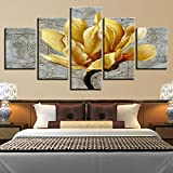 MMLFY 5 Leinwandbilder Leinwand Malerei Modulare Poster Wohnkultur 5 Stücke Wandkunst Goldene Gelbe Blumen Gemälde Gold Orchidee Bild Moderne HD Druck