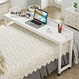 Tribesigns Overbed Table with Wheels, Unadjustable Queen Size Mobile Desk with...
