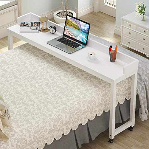 Tribesigns Overbed Table with Wheels, Unadjustable Queen Size Mobile Desk with Heavy-Duty Metal Legs, Height Can't Adjust (White)