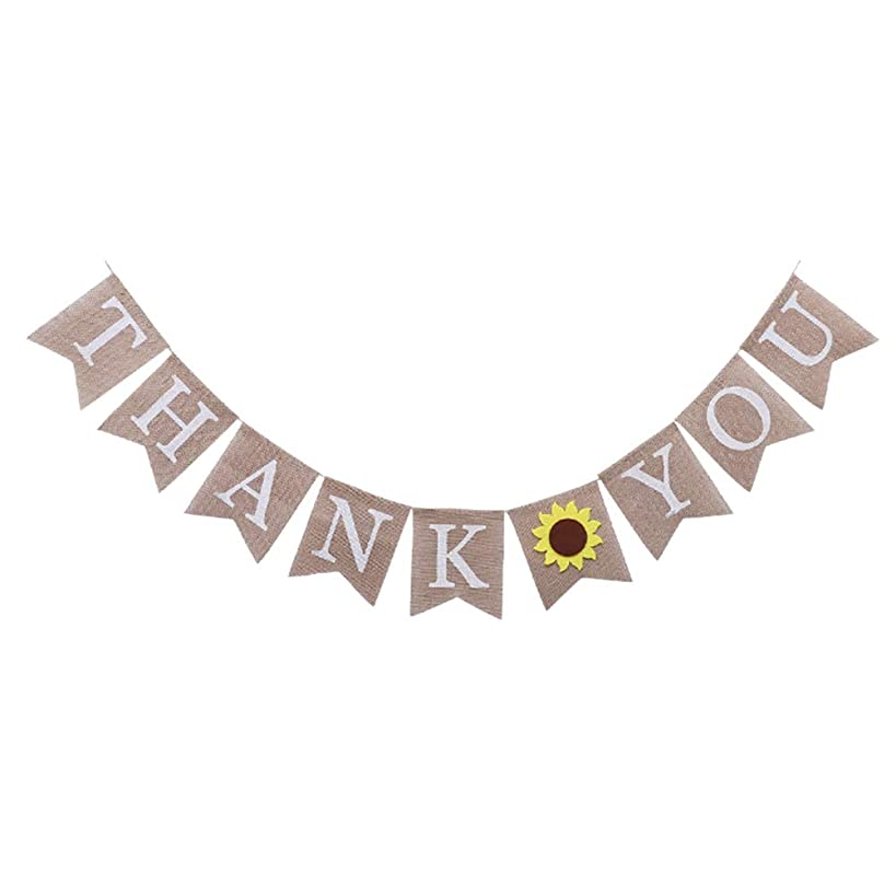 BESTOYARD Thank You Bunting Banner with Sunflower Sign Photo Booth Garland Props Anniversary Bridal Party Decoration