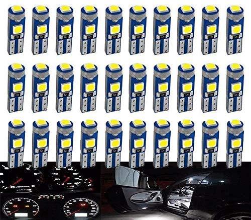 DEFVNSY 30-Pack Blanco Brillante T5 W3W W1.2W 73 74 286 18 86 Bombilla LED 3030 3SMD lámpara para Coche Auto Lado cuña medidor Instrumentos Panel Luces 12V