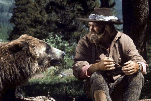Lweike Dan Hagger in The Life and Times of Grizzly Adam with giant bear 24x36 Poster