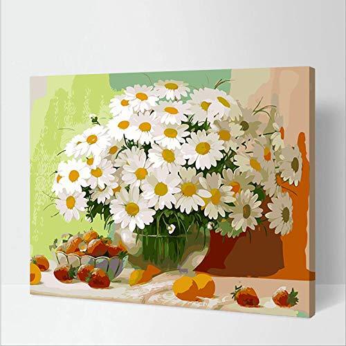 DMLGQ DIY digitaal schilderij, olieverfschilderset, zelfgemaakte decoratie, linnenvulling, 16 x 20 inch 40 x 50 cm, vaas aardbei Frameloos