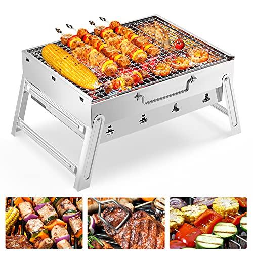 FISHOAKY Portable Grill, Rauch BBQ Holzkohlegrill Rostfreier Edelstahl, Mini Tragbarer Charcoal Picknickgrill Campinggrill Klappgrill Faltbare für 2-3 Personen Outdoor Garten Beach Barbecue