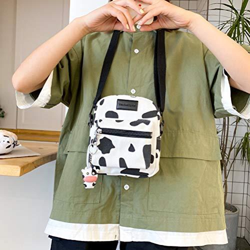 sakulala Leinwand Tasche Taschen Rindsleder Muster Leinwand Tasche Kuh Druck Gepunktet Mode Langlebig Schulter Lässig Taschen für Pendeln Reisen Wandern