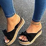 KovBexJa 2021 Mujeres Sandalias De Verano Tacones Medios Bombas Tallas Grandes Zapatos De Cuña Mujer Dulce Pajaritas Zapatillas Negro