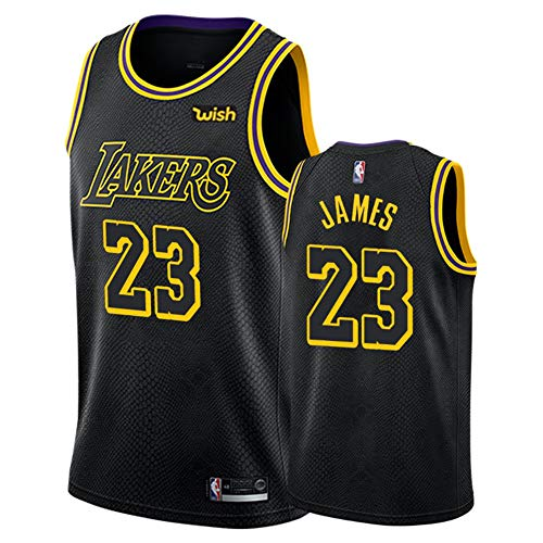 Camiseta de Baloncesto Kobe Bryant Lebron James Anthony Davis Kyle Kuzma Los Angeles Lakers para Hombres Adultos, Camiseta de Baloncesto Black Mamba Conmemorative Edition-Black G-S