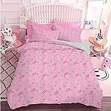 Hiiiman - Juego de edredón ligero (3 piezas, diseño abstracto de margaritas sobre fondo rosa, diseño de habitación de niña, microfibra suave