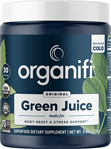 Organifi Green Juice - Organic Superfood Powder - 30-Day Supply - Organic Vegan Greens - Helps Decrease Cortisol - Provides Better Response to Stress - Supports Weight Control - Total Body Wellness