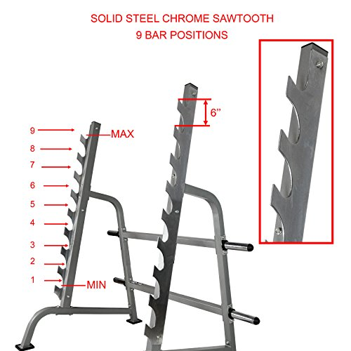 Valor Fitness BD-19 Squat Rack and Bench Press Rack with Steel Sawtooth Barbell Safety Catches