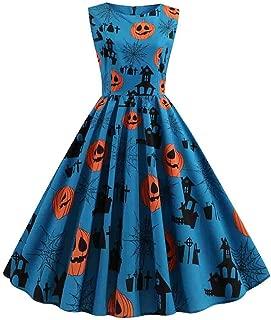 ERLOU Women's Sleeveless Vintage 1950s Halloween Pumpkin Print Swing Dress Rockabilly Party Dresses