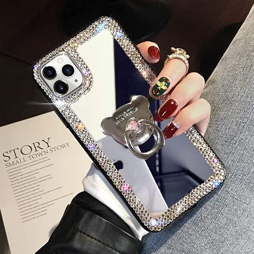 Compatible Con Iphone 12 Mini Diamond Glitter Case Espejo De Maquillaje Con Soporte De Anillo Kickstand Stand Bling Rhinestone Crystal Lindo Para Mujeres Niñas Con Estuche De Agarre De Dedo 5.4 Pulgad