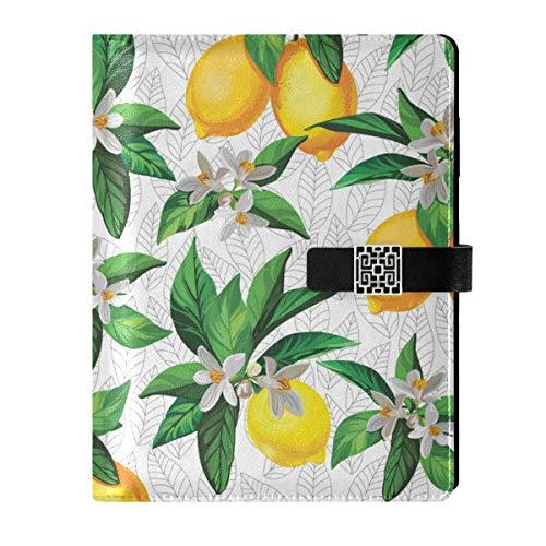 Cuaderno de notas de cuero con hojas de flores de limón, rellenable, tamaño A5, encuadernador de anillas – Tapa dura para mujer, hombre