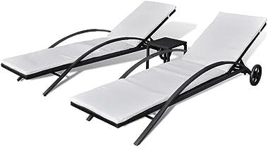 Daonanba 2pcs Chaise Longue De Jardin Pliante Résine Tressée avec 1 Table Chaise Longue Bain De Soleil Fauteuil De Relaxation