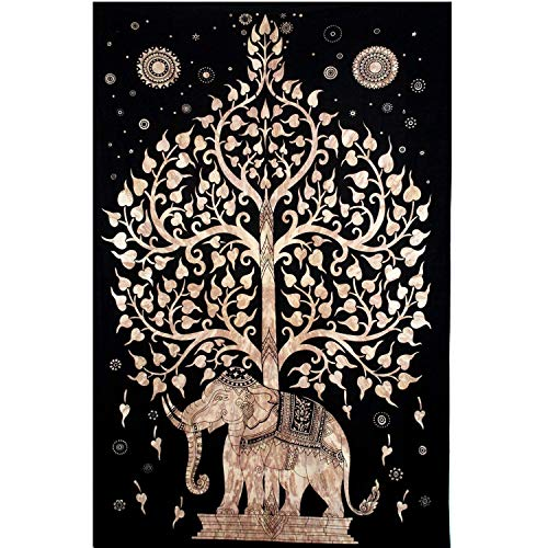 Your Spirit Space (TM Black/Brown/Gold Good Luck Elephant Tapestry-Tree of Life. Quality Home or Dorm Hippie Wall Hanging. The Ultimate Bohemian Tapestry Decoration 80' X 52'