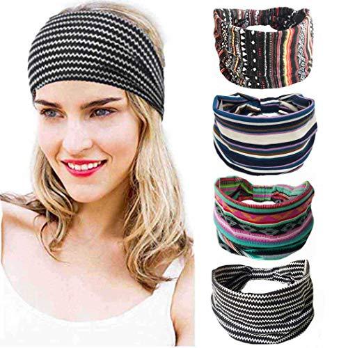 Bohend Boho Breite Frauen Stirnbänder Elastische Haarbänder Bohemia Kopfbedeckungen Sport Stirnband Yoga Kopfbänder Für Frauen Und Mädchen (4 Packung)
