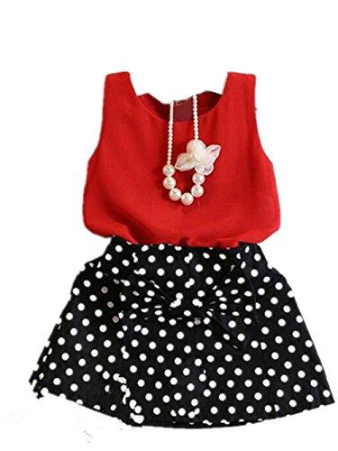 Kinderkleid Baby Babykleidung Sommerkleid Mädchen Kleid Blumensmädchenkleid Clothes Brautjungferkleid Prinzessin Kleid Abendkleid Partykleid Festkleid LMMVP (Rot, 90)