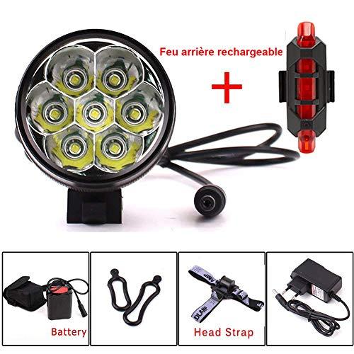 YEHOLDING Illuminazione a LED Velo,9000 lumen 7x CREE XM-L T6 LED 3 modalità bici bicicletta lampada esterna davanti alla luce Potente illuminazione bici + luce posteriore