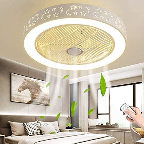 YUnZhonghe Fan Ceiling Lamp Quiet Ceiling Fan LED Fan Ceiling Light with Lighting and Remote Control Dimmable Fan Chandelier for Bedroom Living Room Children's Room Office Kitchen Fan Pendant Light (6