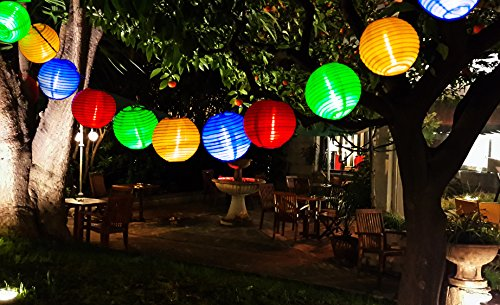 Uping® Solar Lichterkette 30er led Lampion Laterne für Party, Garten, Weihnachten, Halloween, Hochzeit, Beleuchtung Deko in Innen und Außenbereich usw. Wasserdicht 6M (mehrfarbig)