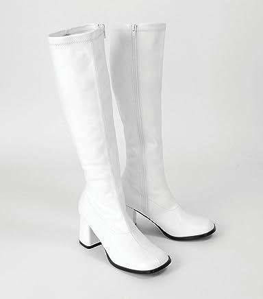 White Platform 60s 70s GoGo Boots Sz 5-6