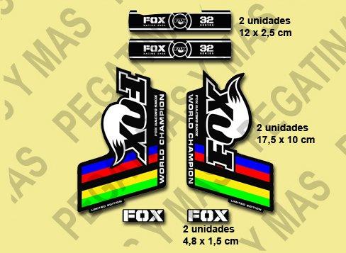 Ecoshirt GU-BBTN-NNXF Pegatinas Fox 32 Horquilla Fork Fdcampeón del Mundo Stickers Aufkleber Decals Autocollants Adesivi, Negro Blanco Colores
