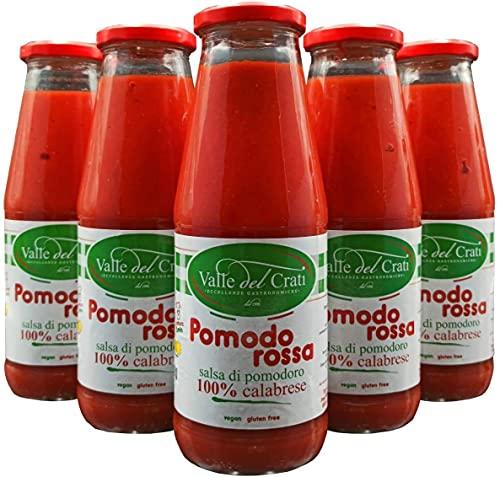 6 Bottiglie Salsa Di Pomodoro Calabrese Naturale Italiano Valle Del Crati Passata Di Pomodori Senza Glutine Prodotto Vegano Per Sugo Pizza e Condimenti Pronta in 5 Minuti Vetro Da 720 Ml