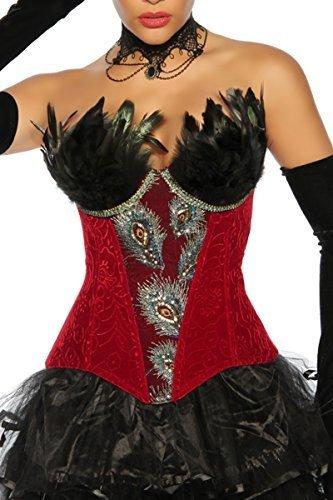Burlesque-Corsage Corsage de pavo real con pluma y bordados Corset/interior rojo/negro 48