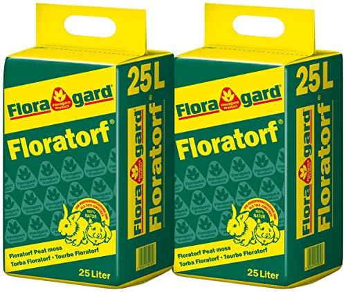 Floratorf 2x25 L - Reiner ungedüngter Weißtorf zur Bodenverbesserung, für fleischfressende Pflanzen oder als Einstreu für Kleintiere - 50 Liter