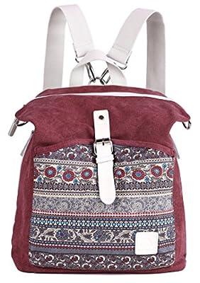 ArcEnCiel Women Girl Backpack Canvas Rucksack Shoulder Bag (Maroon)