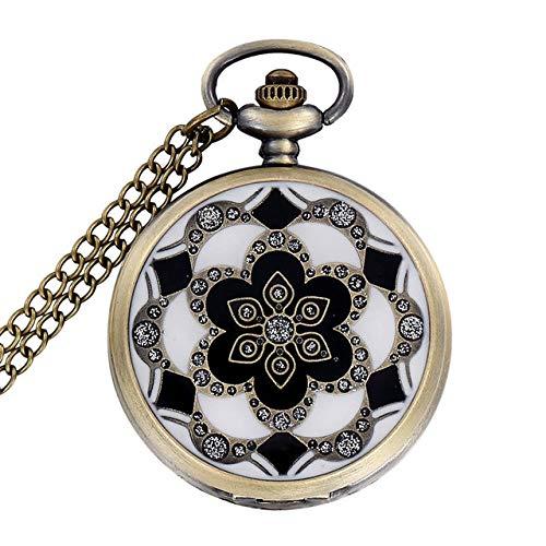 NOBRAND Reloj de Bolsillo, Green Jade Bronze Vintage Quartz Pocket Watch Unisex Collar Colgante Cadena para Hombres Mujeres, CF1041