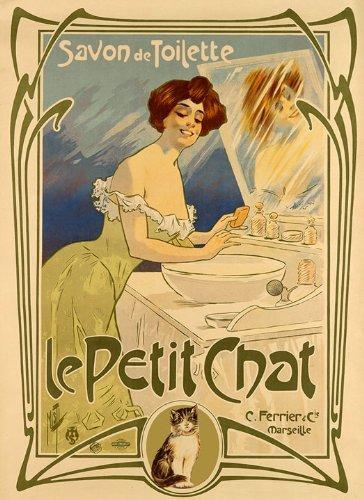 Lady Woman Cat Le Petit Chat Savon de Toilette Soap France French Vintage Poster Repro 12' X 16' Image Size Vintage Poster Reproduction. We have other