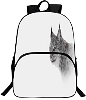 Hunting Decor Beautiful School Backpack,Lynx in Central Norway Wild Cat North Cold Snowy Mountain Carnivore Predator For classroom,11.8