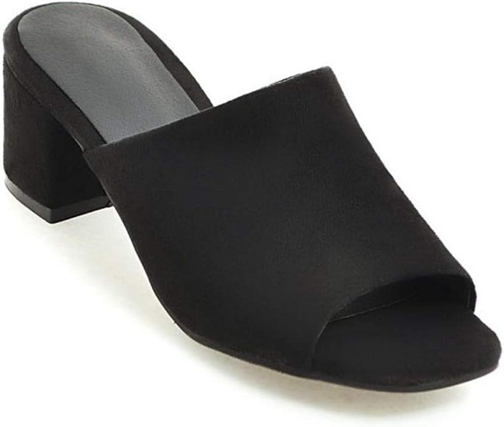MIOKE Women's Block Mid Heel Mule Slide Sandals Peep Open Toe Suede Slip On Comfort Casual Heeled Sandal