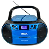 BRIA PB273 Stereo Portable CD/Cassette Home Audio FM Radio Boombox with Aux, Headphone Jack, Cassette Recorder, MP3 CD, and MP3 USB Playback