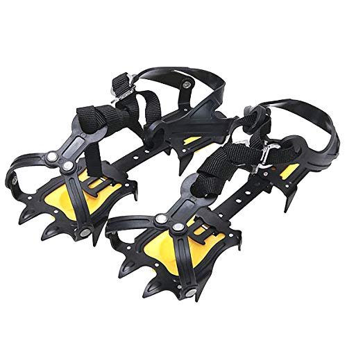 Walsilk Crampons Traction Cleats Spikes Snow Grips,Anti-Slip Stainless Steel Crampons for Mountaineering & Ice Climbing