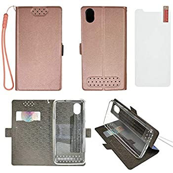 Case for ZTE Blade Vantage 2 Z3153VPP 5  Case TPU Soft + Flip Cover Stand Shell + Tempered Glass Protective Film Pink