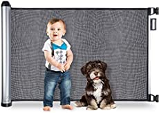 BABYSEATER Baby Gates for Doorways or Stairs - Retractable Safety Gate for Child, Pets, Dog, Puppy or Cat up to 40 lbs - Extra Large, Mesh, and Flexible Material with EZ Latch - Retracts Up to 48""