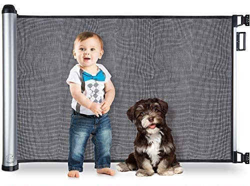 """BABYSEATER Baby Gates for Doorways or Stairs - Retractable Safety Gate for Child, Pets, Dog, Puppy or Cat up to 40 lbs - Extra Large, Mesh, and Flexible Material with EZ Latch - Retracts Up to 48"""""""