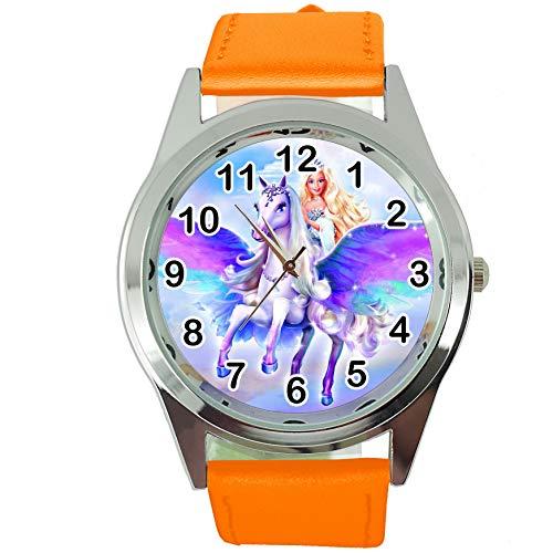 TAPORT Magic Pegasus - Reloj de cuarzo redondo con correa de piel color naranja
