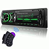 SjoyBring Bluetooth Car Stereo with Wireless SWC Remote and Phone Charging Port, Hands Free Calling, USB/TF Card/Aux-in/FM Radio Receiver with 7 Color Backlight