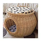 Zhyaj Wicker Cat Kitten Bed Basket Pet Sleeping House 2 Story Cat Weave House with 2 Removable Cushion Cat House Bed,A,M: 41 * 35 * 19CM