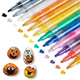 Paint Pens for Rock Painting, Stone, Ceramic, Glass, Wood, Canvas, Fabric, Acrylic, Halloween Pumpkins Painting, Acrylic Paint Pens Fine Point 12 Colors Paint Markers for Kids Adults Craft Supplies