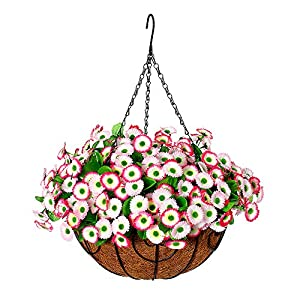 Homsunny Artificial Hanging Flowers in Basket, Silk Flower with 12 inch Flowerpot Centerpieces,Fake Hanging Plants in Coconut Lining Hanging Baskets for Outdoors Indoors Courtyard Decor (Pink)
