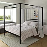 AMBEE21 Canopy Queen Metal Bed Frame with Headboard – Platform/Wrought Iron/Heavy Duty/Solid Sturdy Metal Slat/Dark Black/No Box Spring Needed/Under Bed Storage/Industrial & Farmhouse